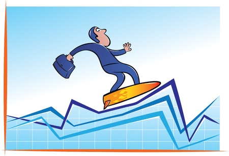 economic recovery: illustration of businessman surfing on chart