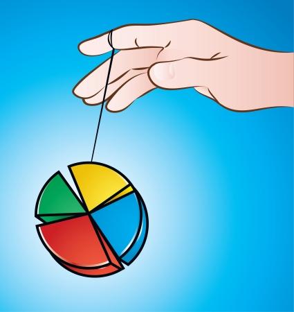 yoyo: illustration of a hand playing with pie chart yo-yo