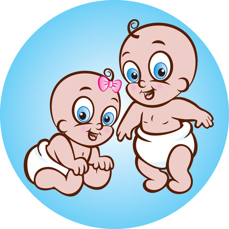 illustration of cute sitting baby girl and baby boy in diaper Vector