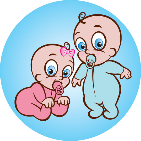 illustration of cute sitting baby girl and standing baby boy in sleeper