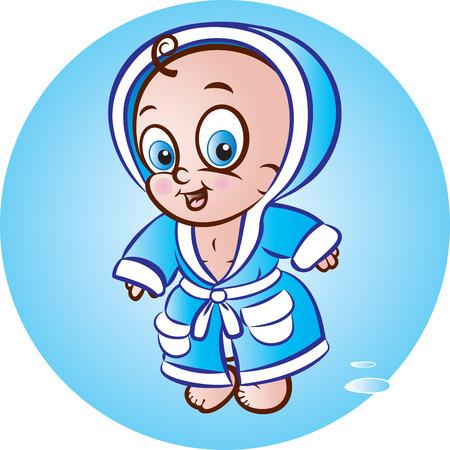 bathrobe: illustration of standing baby boy in bathrobe Illustration