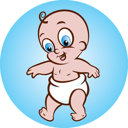 collection of first step of cute baby boy Vector
