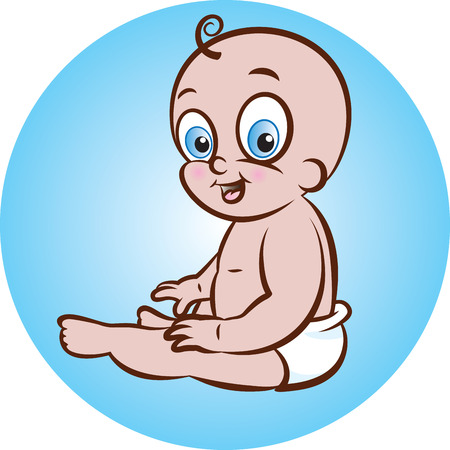 illustration of sitting cute baby boy in diaper Vector