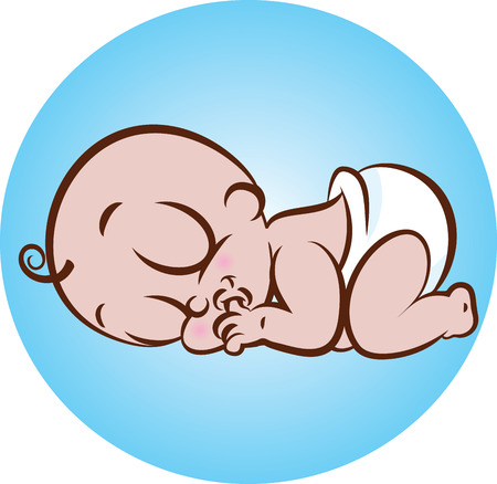 vector illustration of a cute sleeping baby sucking thumb in diaper Stock Vector - 26328364