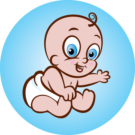 diaper baby: illustration of a cute smiling baby in diaper