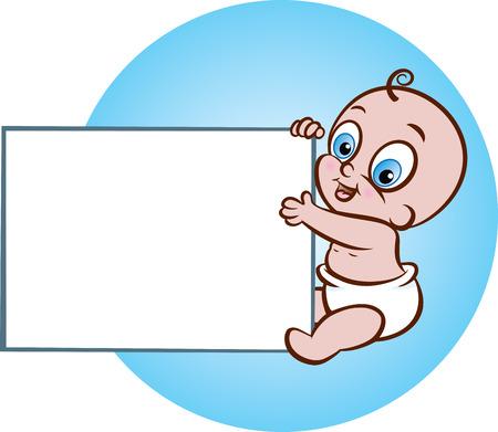 banner infantil: Ilustración de lindo bebé sentado, con un cartel en blanco