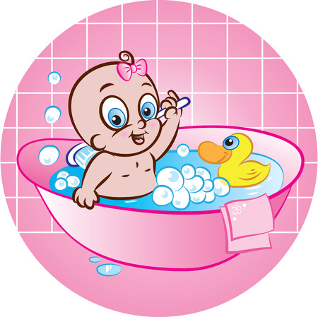 illustration of cute baby girl taking a bath in tub Vector