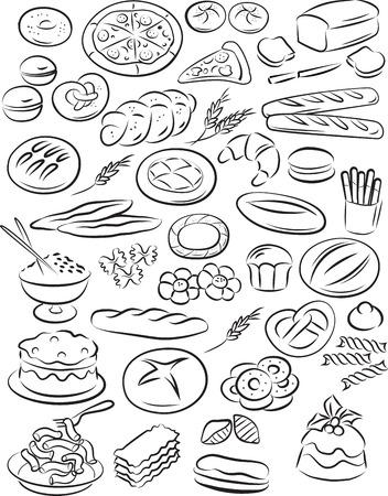 illustratie van bakkerij collectie in zwart-wit Stock Illustratie