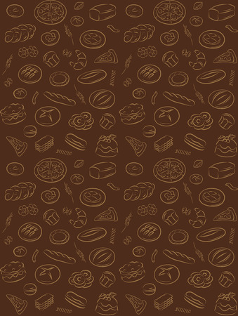 pattern of seamless background with bakery products Vector
