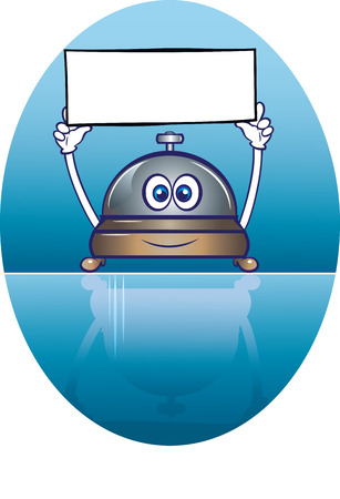 clang: illustration of a cute service bell character holding a blank welcome signboard