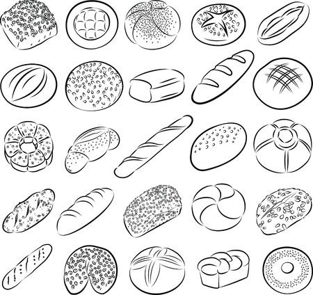 produits céréaliers: collection de pains dans l'art en ligne