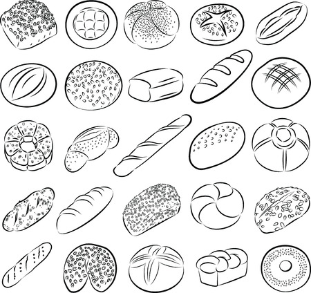 bakery products: collection of breads in line art
