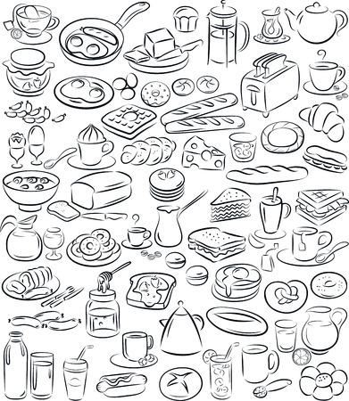 illustratie van ontbijt collectie in zwart-wit