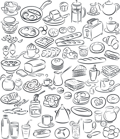illustration of breakfast collection in black and white