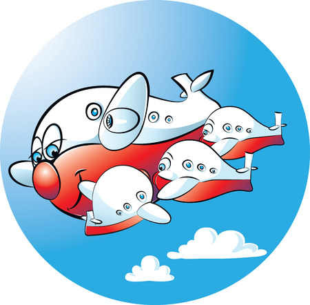 suckling: illustration of a mother plane suckling her child planes Illustration