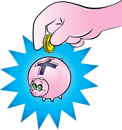 inserting: illustration of a hand inserting a coin into a piggy bank with plus sign