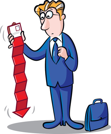 pocketbook: illustration of businessman with briefcase holding wallet including red chart Illustration