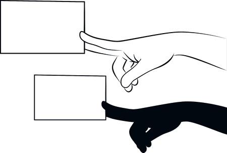 carte de visite vierge: illustration d�crit d'une main donnant une carte de visite vierge Illustration