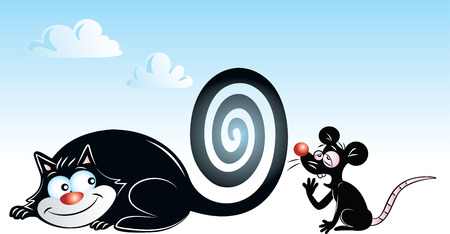 illustration of a black cat hypnotizing black mouse Vector