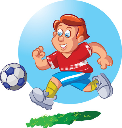 illustration of boy dribbling football  Vector