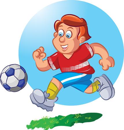 illustration of boy dribbling football  Vector