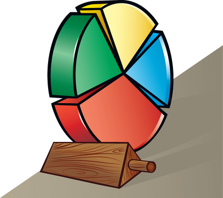 chock: illustration of a chock stopping pie chart wheel