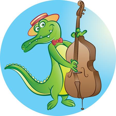 illustration of crocodile mascot playing contrabass