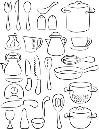 commercial kitchen: illustration of cooking utensil set in black and white Illustration