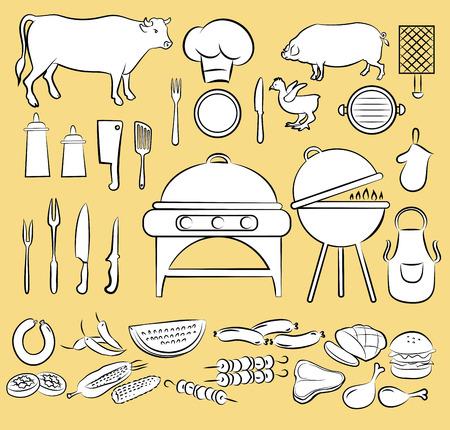 t bone steak: illustration of barbeque items in black and white Illustration