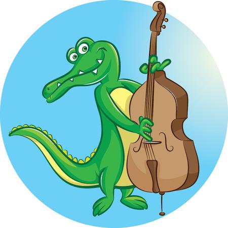 bass player: illustration of crocodile mascot playing contrabass