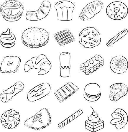 crisp: collection of cookies in line art
