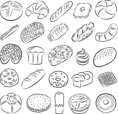 collectie van bakkerij en gebak eten in lijntekeningen