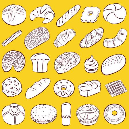produits céréaliers: collection de boulangerie et de pâtisserie nourriture dans l'art en ligne