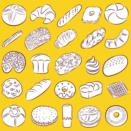 baguette: collection of bakery and pastry food in line art
