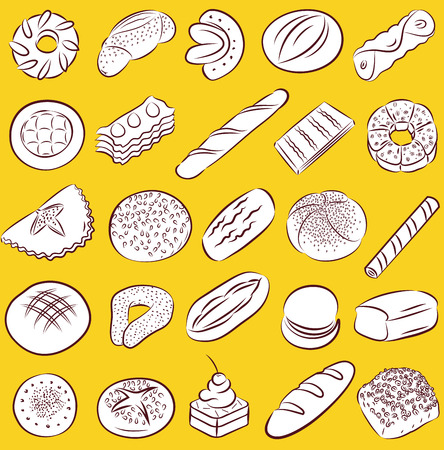bakery products: collection of bakery and pastry food in line art