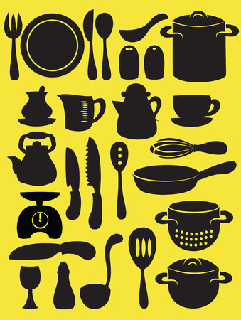 measuring spoon: illustration of  cooking utensil set in silhouette mode