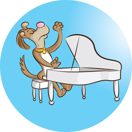 illustration of a dog playing piano Vector
