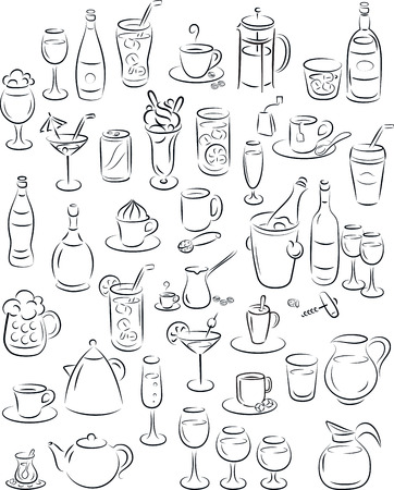drinkware: illustration of beverage collection in black and white