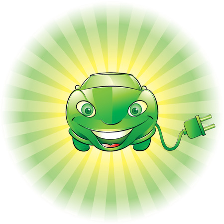 illustration of a smiling green electric car with plug Vector