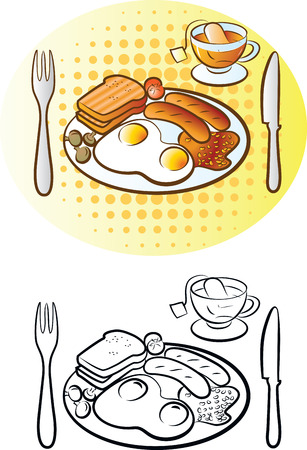 bacon baked beans: illustration of english breakfast in black and white and color mode Illustration