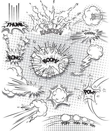 illustratie van komische explosie bubbels in zwart-wit
