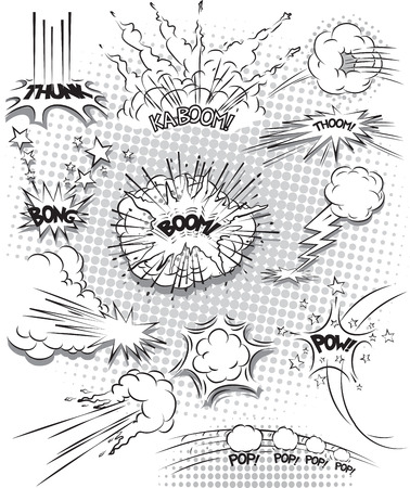 illustration of comic explosion bubbles in black and white Vector