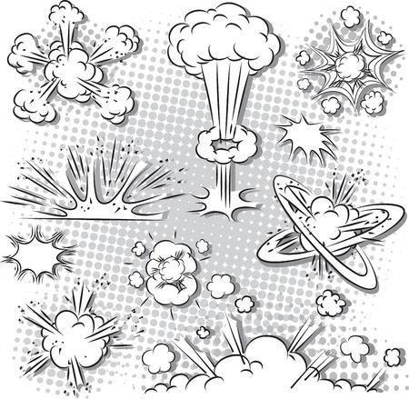 만화 스타일 폭발의 그림 설정 검은 색과 흰색 일러스트