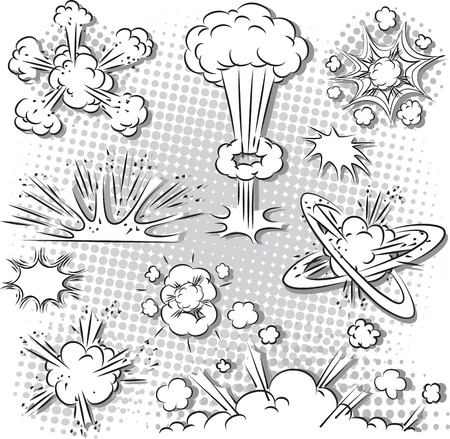 illustration of comic style explosion set in black and white Vector