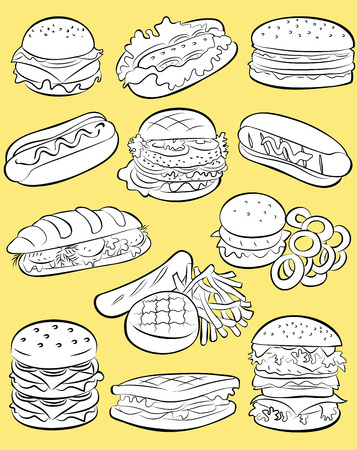 toasted bread: illustration of  fast food collection