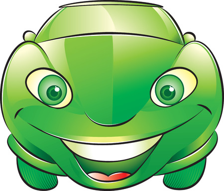 illustration of a smiling green car Vector