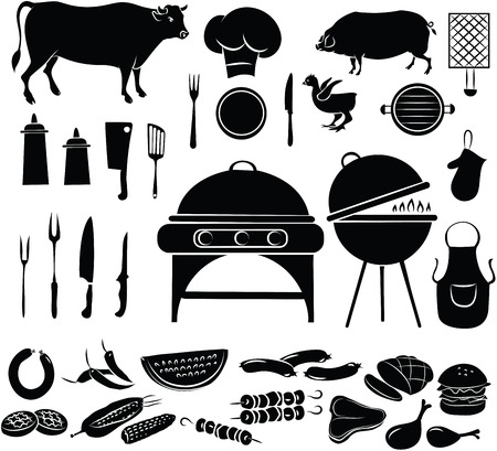 cooking utensils: illustration of barbeque items in black and white Illustration