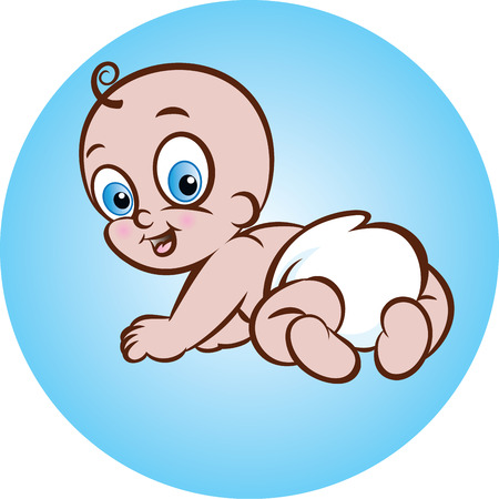 diaper baby: vector illustration of cute crawling baby in diaper