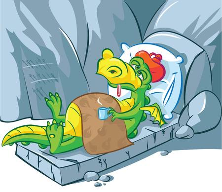 illustratie van een zieke draak liggen