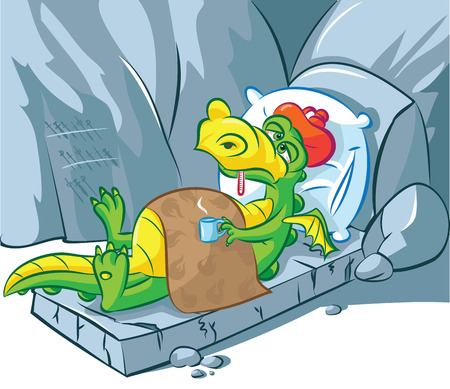 cold pack: illustration of a sick dragon lying down